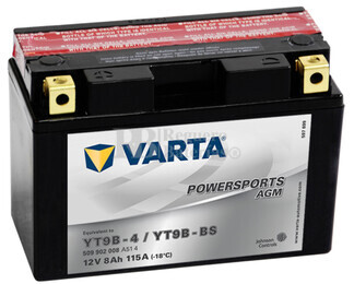 Batería para Moto VARTA 12 Voltios 8 Ah en C10 PowerSports AGM Ref.509902008 YT9B-4-4-YT9B-BS EN 115 A 149x70x105