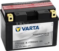 Batería para Moto VARTA 12 Voltios 9 Ah en C10 PowerSports AGM Ref.509901020 TTZ12S-4/TTZ12S-BS EN 200 A 150x87x110