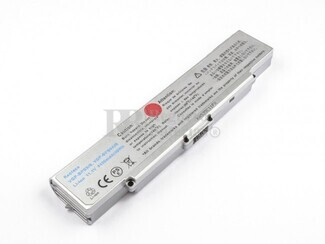 Bateria para ordenadores Sony Vaio VGP-BPS9-S, VGP-BPS9A-S, VAIO VGN-CR490EBP, VAIO VGN-CR490EBN...(Color Plata)