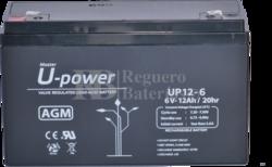 Batería para triciclo, moto, coche de niños 6 Voltios 12 Amperios U-POWER NP12-6