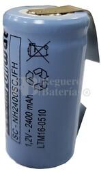 Batería SubC 1.2 Voltios 2.400 mAh con lengüetas