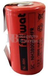 Batería SubC 1.2 Voltios 3.800 mah con lengüetas