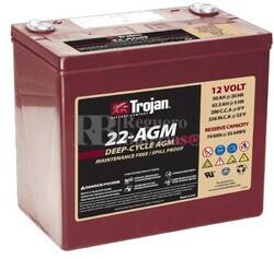 Batería Trojan 22-AGM 12 Voltios 50 Amperios C20  228 x 139 x 204mm
