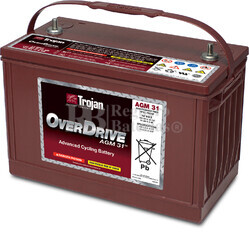 Batería Trojan OVERDRIVE AGM 31 12 Voltios 102 Amperios C20   341 x 173 x 234mm