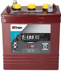 Batería Trojan T-105 RE Plomo abierto 6 Voltios 225 Amperios C20 262 x 181 x 296mm