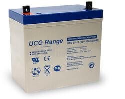 Batería de Gel Ultracell UCG55-12 12 Voltios 55 Amperios  229mm x 138mm x 228mm