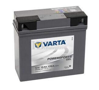 Batería para Moto VARTA 12 Voltios 19 Ah en C10 PowerSports Gel Ref.519901017 EN 170 A 186x82x173