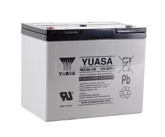 Bater�a 12 Voltios 80 Amperios Yuasa REC80-12 para aplicaciones c�clicas