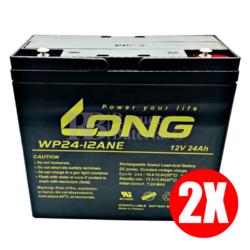 2 Baterías 12 Voltios 24 Amperios Long WP24-12ANE