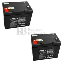 2 Baterías 12 Voltios 75 Amperios MK M75-12 SLD M