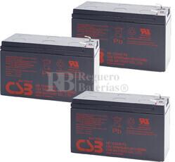 Reemplazo de 3 baterías para SAIS-UPS HR1234WF2
