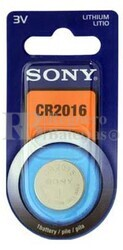 Blister 1 pila Sony CR2016 Litio ( 20 d . x 1.60 alt . ) 3 v .  72 mAh .