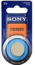 Blister 1 pila  Sony CR2025 Litio ( 20 d . x 2.50 alt  . ) 3 v . 160 mAh .