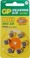 Blister 6 pilas audio GP  ZA013-B6 equivale a 13AE Zinc Aire PR48 (7.9 d. x 5.40 alt.) 1.4 v. 1.4 mAh.