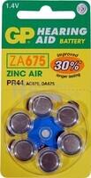 Blister 6 pilas audio GP  ZA675-B6  Zinc aire PR44 (11.6 d. x 5.40 alt.) 1.4  v.  1.4 mAh.