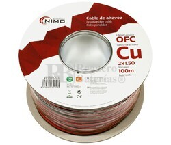 Cable altavoz Cobre 2x1.5mm, Rojo-Negro Libre Oxígeno 100m