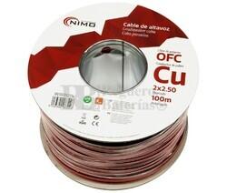 Cable altavoz Cobre 2x2.5mm Rojo-Negro Libre Oxígeno 100m
