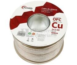 Cable altavoz Cobre 2x2.5mm Transparente Libre Oxígeno 100m