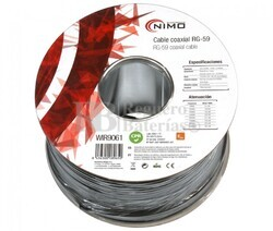 Cable Coaxial RG59 75 Ohm, carrete 100m Negro
