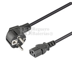 Cable de alimentación Schuko acodado CEE7/7 a IEC320-C13 2 metros