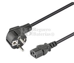 Cable de alimentación Schuko acodado CEE7/7 a IEC320-C13 3 metros