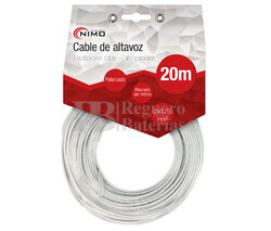 Cable para altavoz 2x.075mm, Blanco polarizado 20m