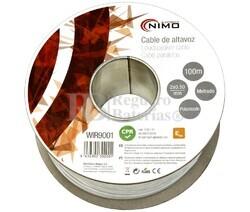 Cable para altavoz 2x0.5mm, Blanco polarizado 100m