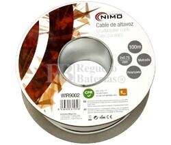 Cable para altavoz 2x0.75mm, Blanco polarizado 100m