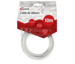 Cable para altavoz 2x0.75mm, Blanco polarizado 10m