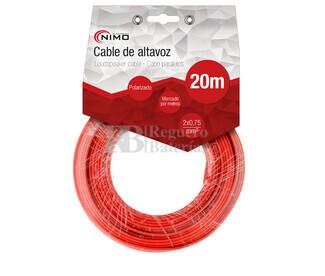 Cable para altavoz 2x0.75mm, Rojo-Negro 20m