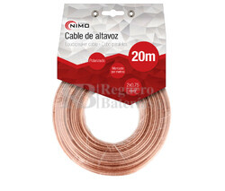 Cable para altavoz 2x0.75mm, Transparente polarizado 20m