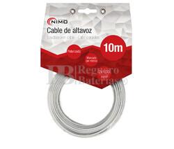 Cable para altavoz 2x1.0mm, Blanco polarizado 10m