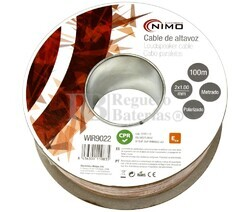 Cable para altavoz 2x1.0mm, Transparente polarizado 100m