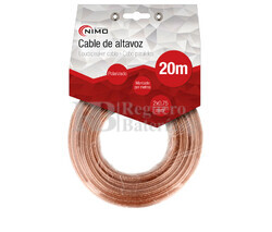 Cable para altavoz 2x1.0mm, Transparente polarizado 20m