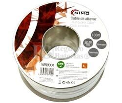 Cable para altavoz 2x1.5mm, Blanco polarizado 100m