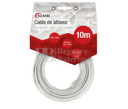 Cable para altavoz 2x1.5mm, Blanco polarizado 10m