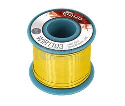 Cable rígido 0,5mm, cobre estañado, Amarillo 25m