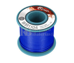 Cable rígido 0,5mm, cobre estañado, azul 25m