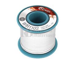 Cable rígido 0,5mm, cobre estañado, Blanco 25m