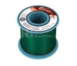 Cable rígido 0,5mm, cobre estañado, Verde 25m