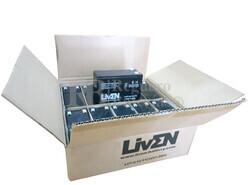 Caja de 10 baterías AGM 12 Voltios 7 Amperios LIVEN BATTERY LV7.0-12