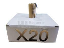 Caja 20 Baterías SubC 1.2 Voltios 1.900 mah con lengüetas