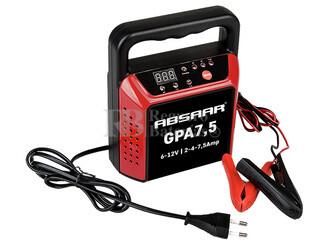 Cargador Automático de Baterías ABSAAR para 6V y 12 Voltios 2,4 y 7,5 Amperios para GEL, AGM y Plomo Acido