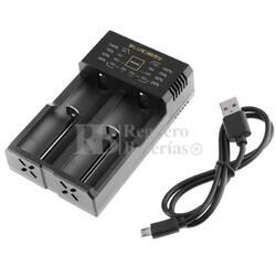 Cargador para baterías de litio 18650, 18500, 14500, 14650, 16340, 26650 y NI-MH