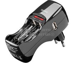 Cargador compacto de hasta 4 pilas recargables R03 o R06 con toma USB
