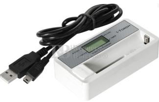 Cargador de baterías de Ion-Litio y Ni-MH cilíndricas, tamaño máximo 18,0x65,0mm