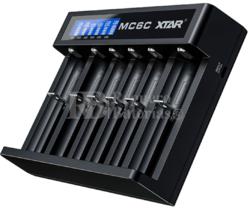 Cargador Xtar 6 baterías litio con pantalla LCD MC6C
