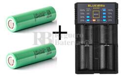 Kit 1 Cargador y 2 baterías Samsung 18650 R25 para vapeadores