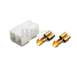 Conector aéreo Faston hembra 2 Pines paso 7mm