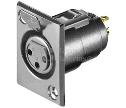 Conector canon-xlr hembra 3 pin chasis metálico